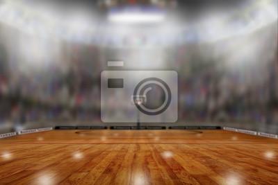 Basketball-Arena mit Kopien-Raum. Konzentrieren Sie sich auf Vordergrund mit flacher Schärfentiefe auf Hintergrund.