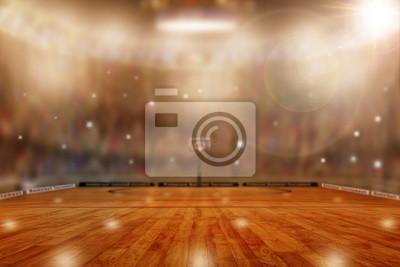 Basketball Arena mit spezieller Beleuchtung und Blitze in den Ständen Plus Copy Space