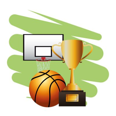 basketball balloon sport with basket and trophy