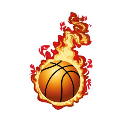 basketball balloon sport with fire flame