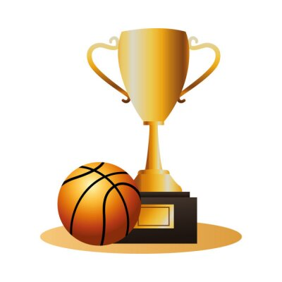 basketball balloon sport with trophy cup