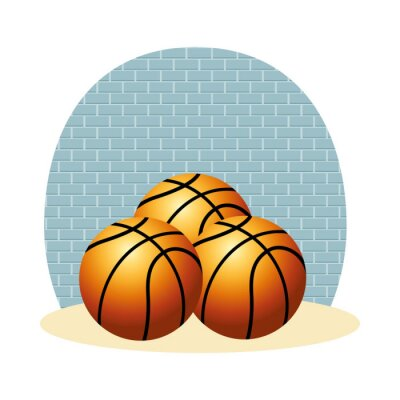 basketball balloons sport isolated icons