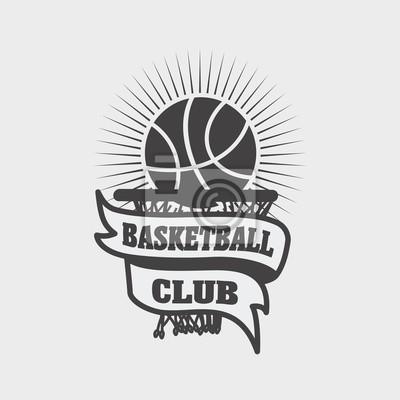 Basketball-club-logo, etikett, emblem design-vorlage mit einem ...