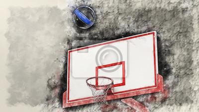 Basketball illustration combined pencil sketch and watercolor sketch. 3D illustration. 3D CG. High resolution.