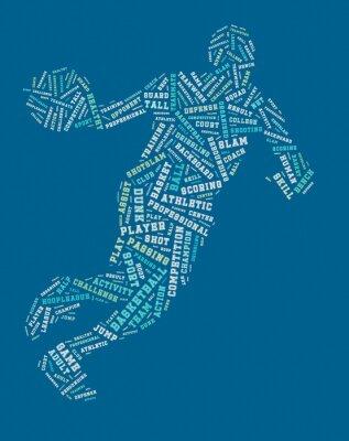 Bild Basketball-Spieler Wort Wolke, Basketball-Typografie Hintergrund