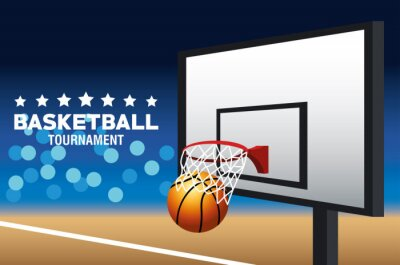 basketball sport poster with balloon and basket in court