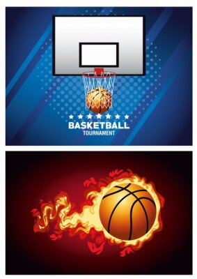 basketball sport poster with balloon on fire and basket