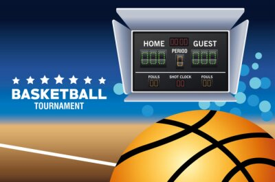basketball sport poster with court and scoreboard