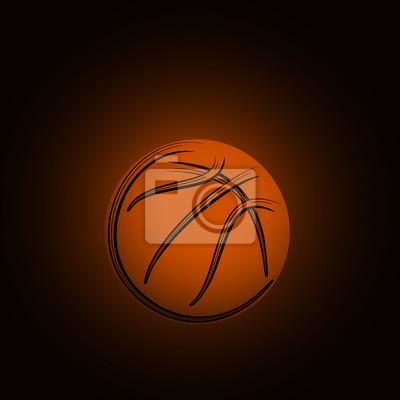 Basketball-Symbol-Zeichnung mit schwarzen Strichen dunklen Hintergrund
