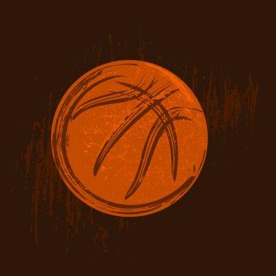 Bild Basketball-Symbol-Zeichnung mit schwarzen Strichen dunklen Hintergrund