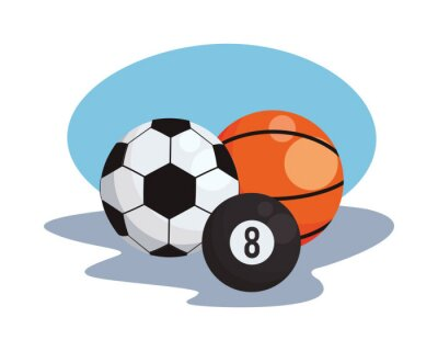 basketball with soccer and billiard sports balls