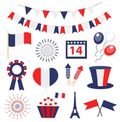 Bild Bastille day, France national holiday icons set. Vector illustration