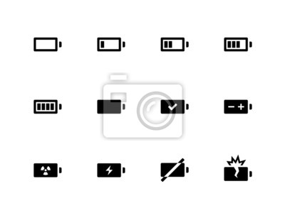 Batterie-Symbole auf weißem Hintergrund.