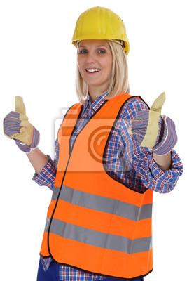 Bauarbeiter Frau Bauarbeiterin Beruf Arbeiter Bau Daumen Hoch
