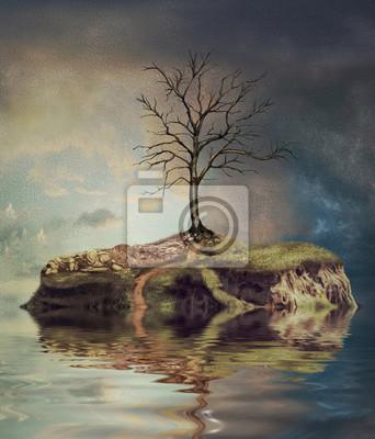 Baum auf einer Insel auf dem kleinen See