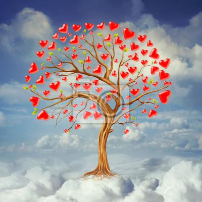 Baum der Herzen, Valentinstag Hintergrund, Illustration