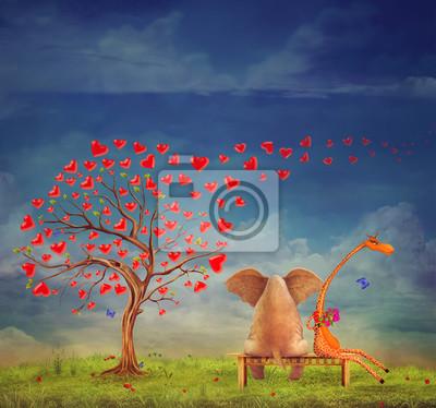 Baum der Herzen, Valentinstag Hintergrund, Illustration. Die Liebe zwischen einem Elefanten und Giraffe im Garten.