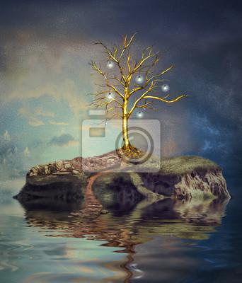Baum mit Glühbirnen auf einer Insel auf dem kleinen See