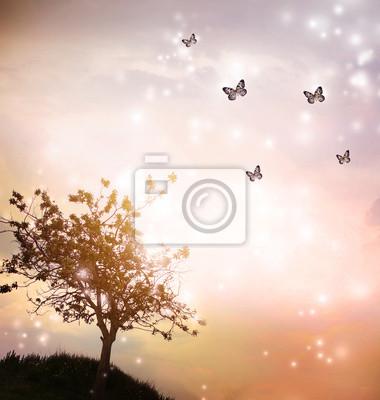 Baum-Silhouette mit Schmetterlingen in der Dämmerung