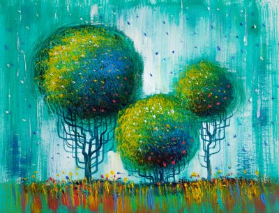 Bild Bäume, Ölgemälde, künstlerischer Hintergrund