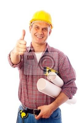 Baumeister zeigt Geste OK