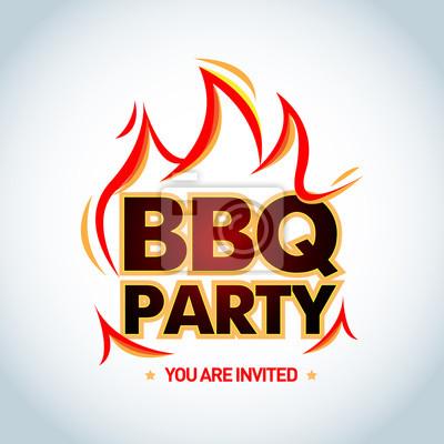 Bbq party-logo-vorlage mit flammen. barbecue-partylogo ...