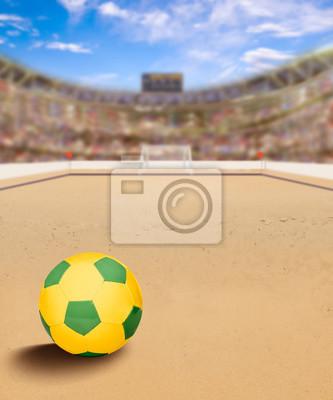 Beach Soccer Arena mit Ball auf Sand und Textfreiraum