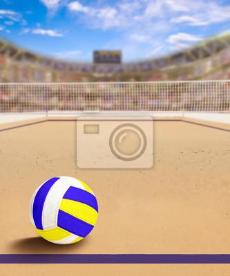 Beach Volleyball Gericht mit Ball auf Sand und Textfreiraum