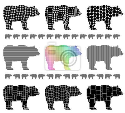 Bear silhouette mosaic set
