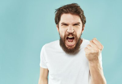 Bild bearded man in a white t-shirt hand gestures anger Lifestyle