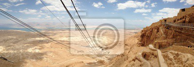 Bild Beatiful Panorama Landscape View on Dead Sea and Jordan Border in Israel Masada Mountain View from Elevator Lift
