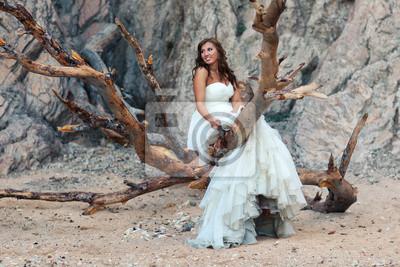 Bild Beautiful bride standing on branches