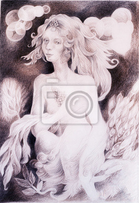 Beautiful gentle fairy woman creature with leaves and wavy hair
