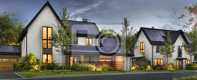 Bild Beautiful houses with solar panels on the roof