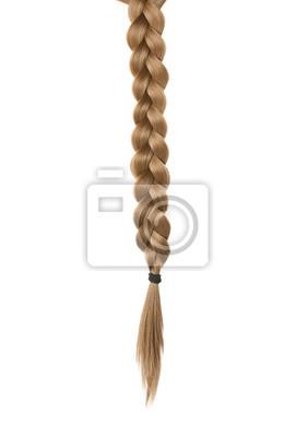 Bild Beautiful long braid on white background. Healthy hair