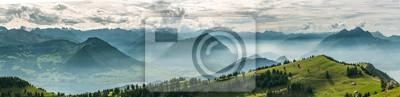 Bild Beautiful panoramic view on Swiss Alps around Lake Lucerne as seen from top of Rigi Kulm peak