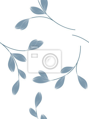 Bild Beautiful seamless floral background with hand-drawn leaves