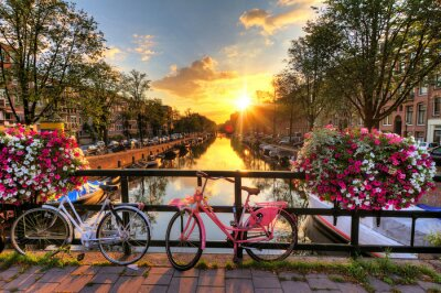 Bild Beautiful sunrise over Amsterdam, The Netherlands, with flowers and bicycles on the bridge in spring