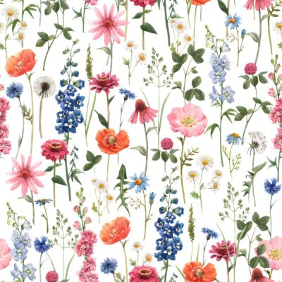 Bild Beautiful vector floral summer seamless pattern with watercolor hand drawn field wild flowers. Stock illustration.