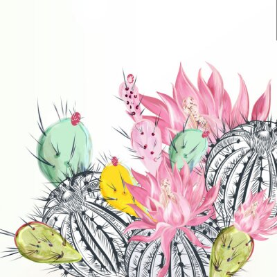 Bild Beautiful vector illustration with cactus plants and flowers