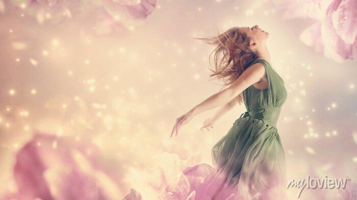 Bild Beautiful woman in a pink peony flower fantasy