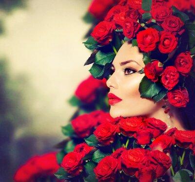 Bild Beauty Fashion Model Girl Portrait mit roten Rosen Frisur