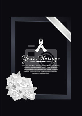 Beerdigung Karte.Bild Beerdigung Karte White Ribbon Zeichen Und Text Banner In Dunklen