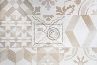 Beige Marokkanischen Fliesen Ornamente Mosaik Boden Textur