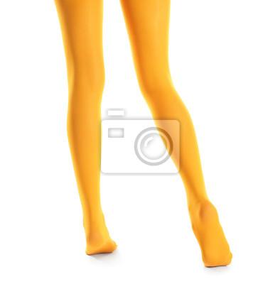 Bild Beine der schönen jungen Frau in den Strumpfhosen auf weißem Hintergrund