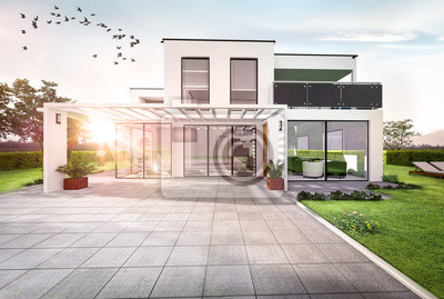 Belle maison moderne contemporaine darchitecte leinwandbilder ...