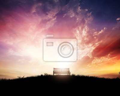 Bench bei Sonnenuntergang