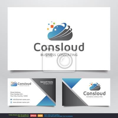Beratung Digitale Wolkendaten Logo Und Visitenkarten Design
