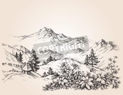 Bild Berge Landschaft Skizze
