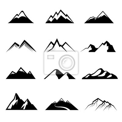 Bild Berge schwarz Vektor-Icons. Gebirgsnatur, im Freienberg, Höchstbergfelsenabbildung